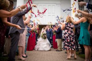 ribbon exit Stowe Vermont Green Mountain Inn Community Church Wedding LINDSAY RAYMONDJACK