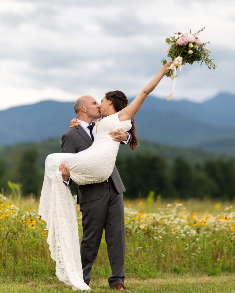 Smuggs Resort, Jeffersonville Vermont Mountain view wedding photo by Lindsay Raymondjack