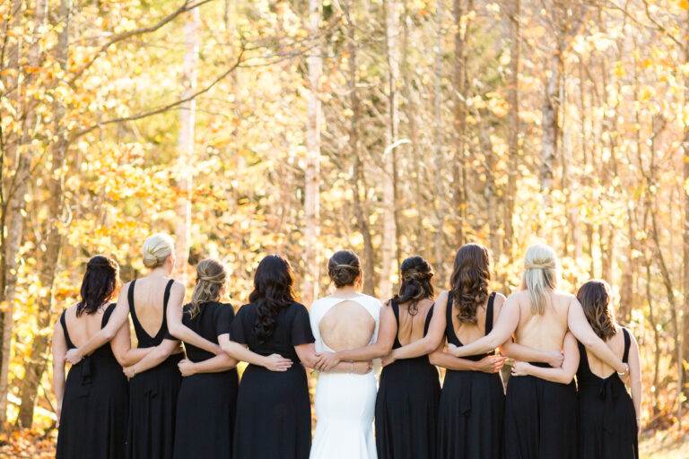 LBD Bridesmaids with no flowers in Mad River Valley Vermont Autumn Wedding
