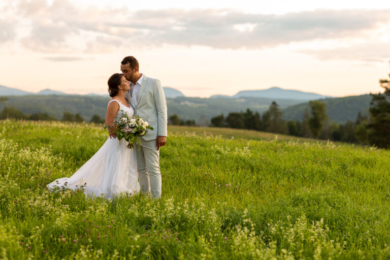 mountain view sunset intimate elopement wedding at Pavilion in the Pines Vermont photo by Lindsay Raymondjack