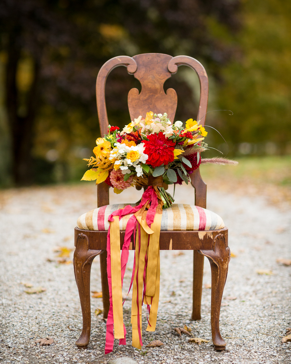 Birds of a flower Fall Wedding bouquet at Riverside Farm Pittsfield Vermont Linday Raymondjack