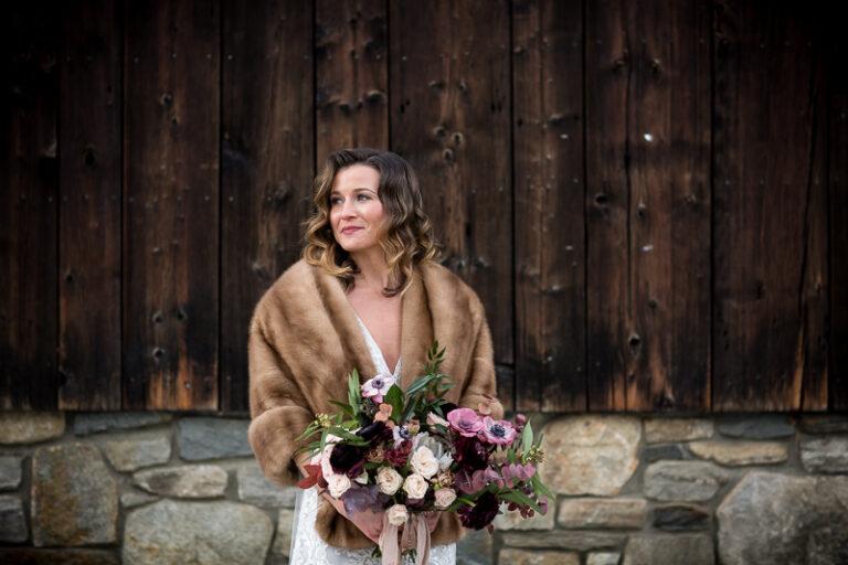 Pink Burgandy Winter Wedding Minimony Grafton Inn Vermont Lindsay Raymondjack__023